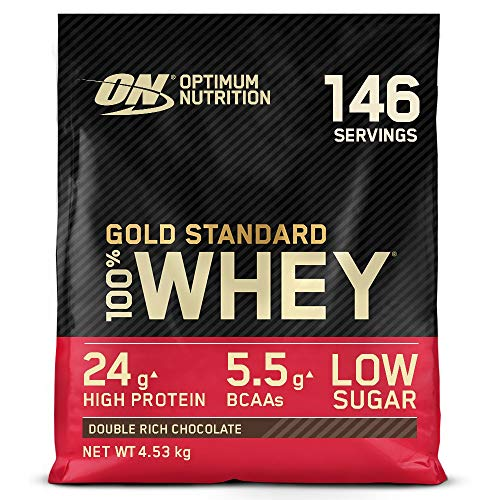 Optimum Nutrition Gold Standard Whey Protein, Muscle Building Powder With Naturally Occurring Glutamine and Amino Acids, Double Rich Chocolate, 146 Servings, 4.53 kg, Packaging May Vary
