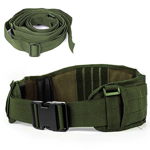 LUUFAN Cinturón táctico Mille Cinturón Resistente de Trabajo Pesado Ajustable con Correa Libre para Actividades al Aire Libre (Army Green)