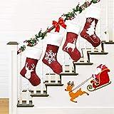 FDCAI - Saco de calcetín de Navidad con bordado de lujo, personalizable, para calcetines de Navidad, 4 unidades, bordado, hecho a mano