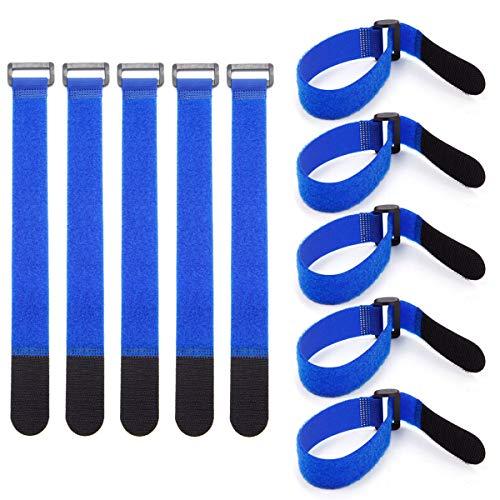 SurePromise Kabelbinder, wiederverwendbar, wiederverwendbar, wiederverwendbar, robust, 10 Stück, blau