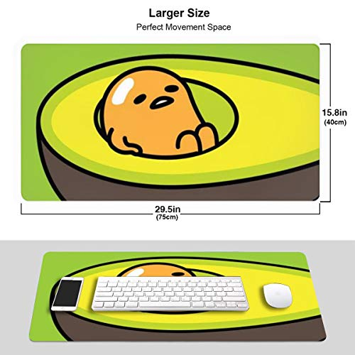 Extra Large Mouse Pad -Avocado Gudetama Desk Mousepad - 15.8x29.5in (3mm Thick)- XL Protective Keyboard Desk Mouse Mat for Computer/Laptop