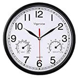 Vigorwise Wall Clock, Sweep Silent Movement Accurate Clocks with Temperature & Humidity, Decorative for Kitchen/Living Room/Bedroom/Office/School/Classroom (Black, 8 inch)