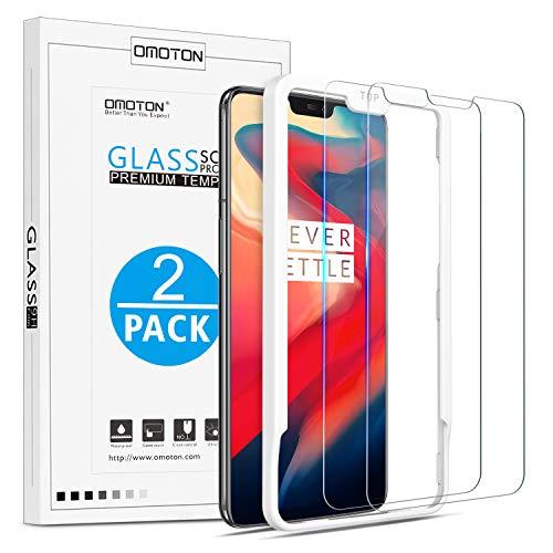 OMOTON [2 Stück] Panzerglas Schutzfolie für OnePlus 6 [6.28 Zoll], Anti- Kratzer, Bläschenfrei,9H Festigkeit, HD-Klar, [2.5D R&e Kante],mit Schablone