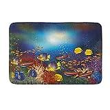 Coral submarino peces tropicales marinos ecosistema acuario dibujo decoración baño alfombra Shaggy baño piso alfombra 40 x 60 cm