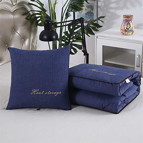 Manta de viaje y almohada Almohada edredón de doble uso sleeping almohadilla del coche de la siesta almohada edredón Oficina de la siesta Artefacto Equipaje de mano ( Color : Blue , Size : 40x40cm )
