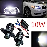 MuChangZi 1 Set 10W * 2 LED Angel Eyes Light Faros de Coche Xenon Bombillas Blancas para BMW E90