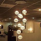 Msoteey Lámparas LED de la lámpara de techo moderna grande escalera larga Globo Bola de cristal con 10 bolas de luz Montaje del accesorio de iluminación Inicio Isla de cocina comedor mesa de la sala d