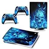 UUShop Skin Sticker Decal Cover for Playstation PS5 CD Disk Edition Console and Controllers Ghost Flame