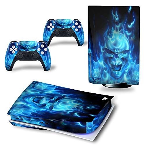 UUShop Skin autocollant pour console Playstation PS5 CD Disk Edition et manettes Ghost Flame