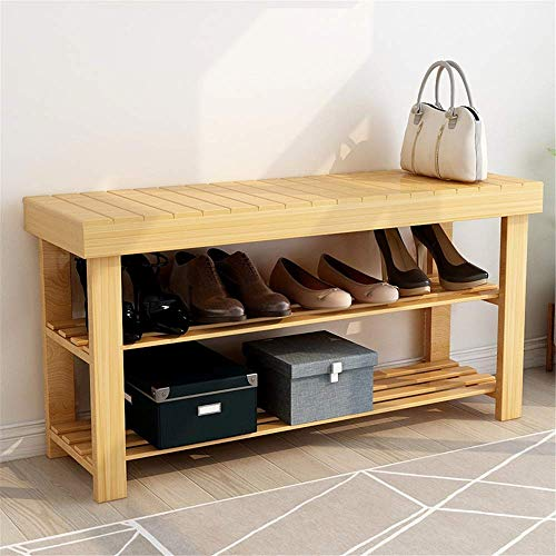 Zjcpow Zapatero multifuncional de bambú zapatero de entrada de almacenamiento de zapatos gabinete para