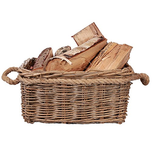 Rustic Fireside Chunky Wicker Log Basket Potato Basket with Rope Handles (Medium)