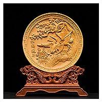 21cm中国のドラゴンフェニックスラッキーヨット像木彫り装飾家の装飾彫刻の装飾品 (色 : SHNY)