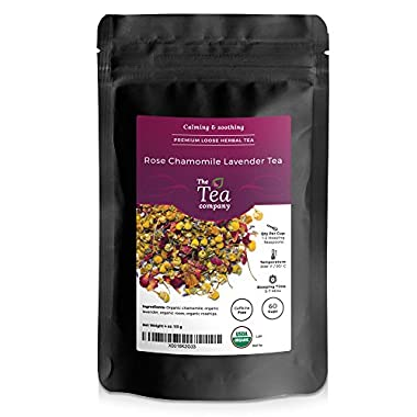 Organic Rose Chamomile Lavender Herbal 60 Cups The Tea Company 4 oz