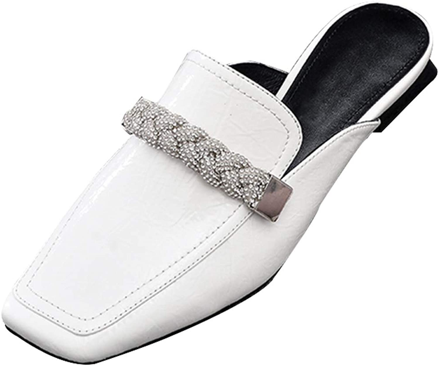 Patent Leather shoes Leather Loafers Rhinestones with Lazy Half Drag Muller shoes Summer Women's shoes Mid Heel Sandals for Wome, Smooth and Comfortable (color   White, Size   39 US8)
