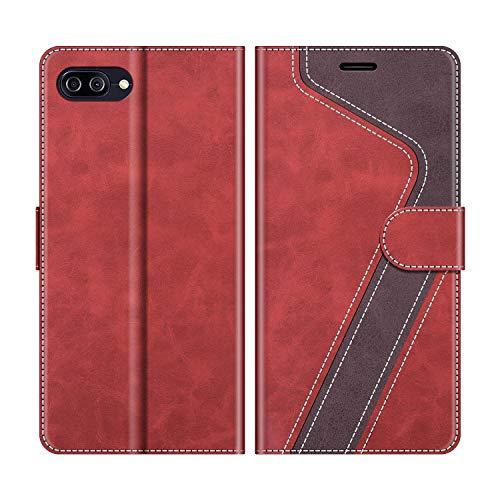 MOBESV Handyhülle für Asus Zenfone 4 Max ZC520KL Hülle Leder, Asus Zenfone 4 Max ZC520KL Klapphülle Handytasche Hülle für Asus Zenfone 4 Max ZC520KL Handy Hüllen, Modisch Rot