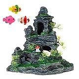 Uotyle Decoración de acuario, vista a la montaña, paisaje roco, roca, cueva, piedra de resina, tronco de peces, adorno para peces, 1 pieza