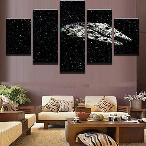 Yftnipl Cuadro En Lienzo,5 Piezas Halcón Milenario Volando Guerras Espaciales Dibujos Hd Poster Pictures Paintings Home Decor Impresión Artística Fotográfico