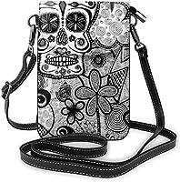 たっての熱ファッションスモール携帯電話クロスボディショルダーバッグブラックホワイト落書きシュガースカル携帯電話財布財布軽量広々としたポケット女性女の子ティーンのためのスマートフォンバッグ