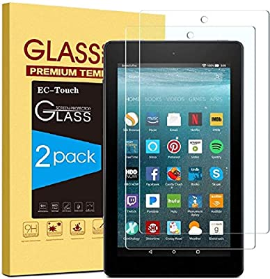 [2 Pack] All-new Fire 7 Screen Protector (9th / 7th Generation, 2019/2017 Release),EC-Touch 9H Hardness HD Anti-Scratch Bubble Free Tempered Glass for Fire 7 Inch 2019/2017 (Fire 7-2p)