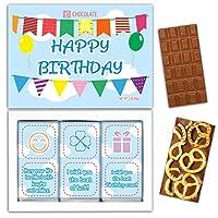 "DA CHOCOLATE キャンディーお土産HAPPY BIRTHDAYチョコレートセット1箱7.2x5.2 ""3オンス各チョコレート4x2"" (MILK Blueberry Coconut Pretzel)"