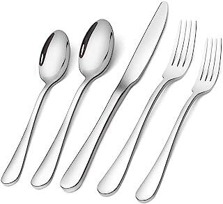 Flatware Set, 20-Piece Elegant Silverware Cutlery Set, Stainless Steel Utensils Service for 4, Include Knife/Fork/Spoon, M...