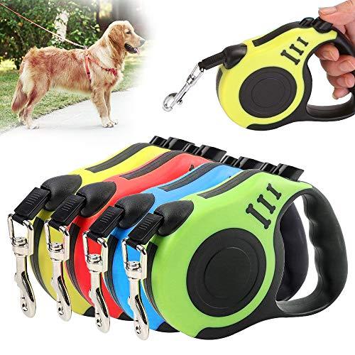 NIBESSER Hunde Hundeleine Aufrollbare Hundeleine 3m/5m aus Nylon mit ergonomischem Griff und rutschfest-Griff für Haustiere
