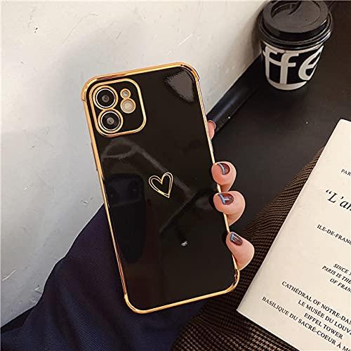 Funda para teléfono con protección de galvanoplastia para iPhone 12 11 Pro MAX XR X XS MAX 7 8 Plus SE 2020 Love Heart Soft TPU Funda Trasera a Prueba de Golpes, Negro, para iPhone 12