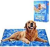 EXPAWLORER Dog Cooling Mat 90x60cm - Pet Gel Self-Cooling Pad for Summer Sleeping Bad Kennel Crate,Keep Pets Cool for All Ages Dogs Large