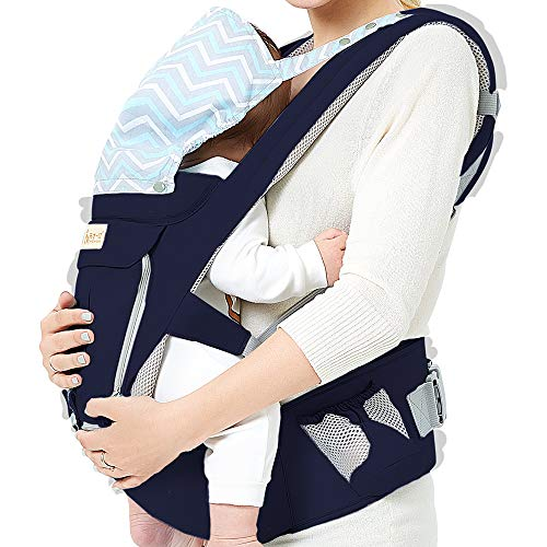 Baby Wrap Carrier with Hip Seat, Windproof Cap, Bite Towel as Well as 6 and 1 Convertible Backpack, Cotton Sling for Infants, Babies and Toddlers - Navy