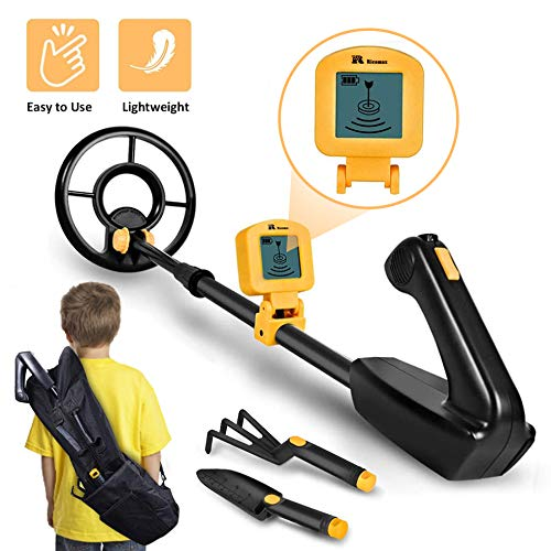 "RM RICOMAX Metal Detector for Kids - 7.4 Inch Waterproof Kid Metal Detectors Gold Detector Lightweight Search Coil (35""-45"") Adjustable Metal Detector for Junior & Youth with High Accuracy - Yellow"