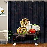 Yummy - Cortina de ducha con diseño de tortitas y panqueques, tomate, cortina de baño, cortina de ducha, para establos, bañeras, estilo americano, impermeable, 180 x 240 cm