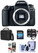 Canon EOS 77D DSLR Body - Bundle with 16GB SDHC Card, Holster Case, Cleaning Kit, Memory Wallet, Card Reader, Software Package