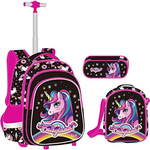 Mochila Escolar Trolley niña Unicornio, Mochila niños con Ruedas Mochilas con Ruedas para niños para niños niñas...