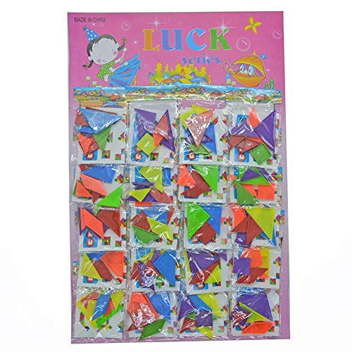 Yiwa Réveils éducatifs 20Packs Rainbow Tangram Puzzle Mini Conseil en Plastique Puzzle Jouet Bricolage
