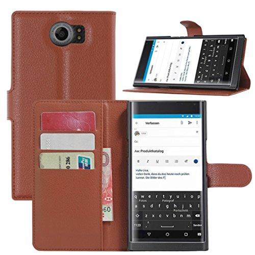 BlackBerry Priv Hülle, HualuBro [Standfunktion] [All Aro& Schutz] Premium PU Leder Leather Wallet Handy Tasche Schutzhülle Hülle Flip Cover mit Karten Slot für BlackBerry Priv Smartphone (Braun)