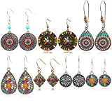 7 Pairs Bohemian Earrings National Retro Rhinestone Ear Stud boho Eardrop