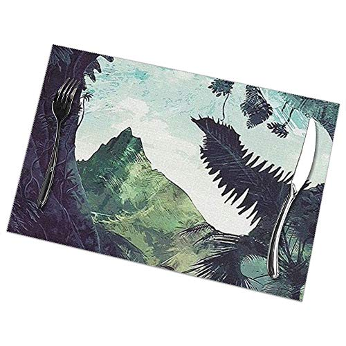 Napperons Jurassic World Fan Art Set de 6 pour table à manger Napperon en polyester lavable Tapis de table de cuisine résistant à la chaleur antidérapant