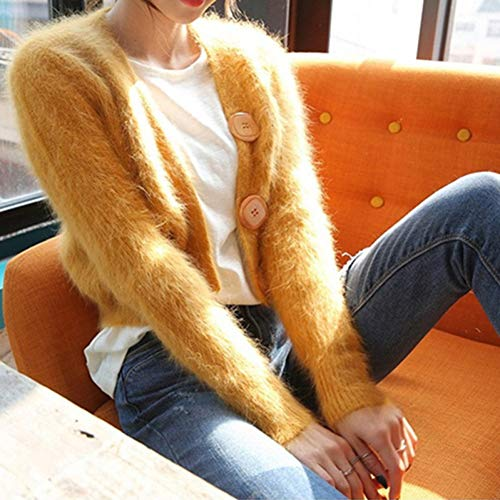 SMZAST Herbst Winter Womens Sweaters Langarm Elastizität Soft Solid Color Einfache Einreiher Mohair Cardigan-2