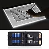 Aibecy A3 Caja de luz de gran tamaño LED Artcraft Tracing Light Pad Almohadilla de protección ocular de atenuación continua + 32pcs / Set Kit de dibujo de dibujo profesional