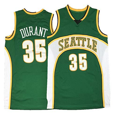 FGRGH SuperSonics # 35 Durant - Camiseta de baloncesto con bordado RetroGreen S-XXL, unisex, cómoda camiseta deportiva de baloncesto XXL (95 ~ 110 kg)