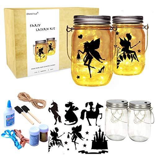 Onnetila Fairy Lantern Craft Kit for Girls and Boys (2 Pack) - Fairy Nightlight Kit Make Your Own Fairy Garden Jar - DIY Craft Art Projects Gift for Kids