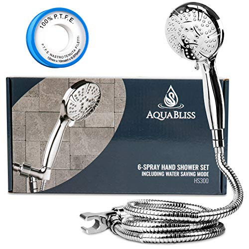 Product Image of the AquaBliss TheraSpa Hand Shower – 6 Mode Massage Shower Head with Hose High Pressure to Gentle Water Saving Mode - 6.5 FT No-Tangle Handheld Shower Head with Extra Long Hose & Adj. Mount | Chrome