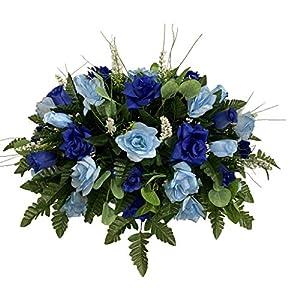 Blue, Roses Cemetery Flower Arrangement, Headstone Saddle, Grave, Tombstone Arrangement, Cemetery Flowers SS4282