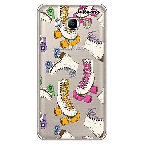 dakanna Funda Compatible con [ Samsung Galaxy J5 2016 ] de Silicona Flexible, Dibujo Diseño [ Patrón Patines Retro ], Color [Fondo Transparente] Carcasa Case Cover de Gel TPU para Smartphone