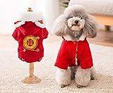 Coollooda acolchado cálido año nuevo mascota ropa pana nuevo perro algodón abrigo otoño e invierno bendición S