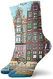 Nifdhkw Calcetines de vestir para hombres y mujeres, calcetines deportivos para correr, calcetines de compresión para correr, viajes, ciclismo, embarazada, enfermera, vuelo, Ámsterdam