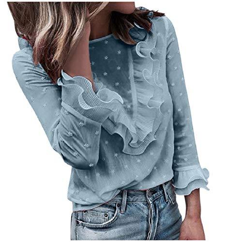 YEBIRAL Topy dla kobiet sweter bluzka damska na co dzień koronka w groszki okrągły dekolt koszulka z długim rękawem