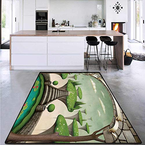 Fantasy, Door Mats Area Rug, Fairytale Landscape View with Hanging Islands and a Pond with Lilies, for Bedroom 4' x 6' Umber Green Turquoise
