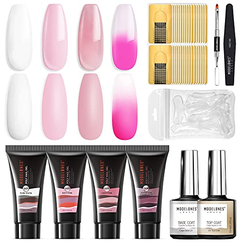 Modelones Poly Nail Gel Kit 30ml Temperature Color Changing Extension Builder Enhancement Professional Starter Kit All-in-One Nail Technician French Kit