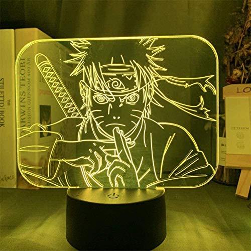 Lámpara de noche 3D, ilusiones con mando a distancia, 16 colores cambiantes USB LED lámpara de mesa decoración para niños Navidad Halloween cumpleaños Uzumaki Naruto 1